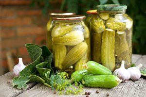 Pickles and fresh vegetables