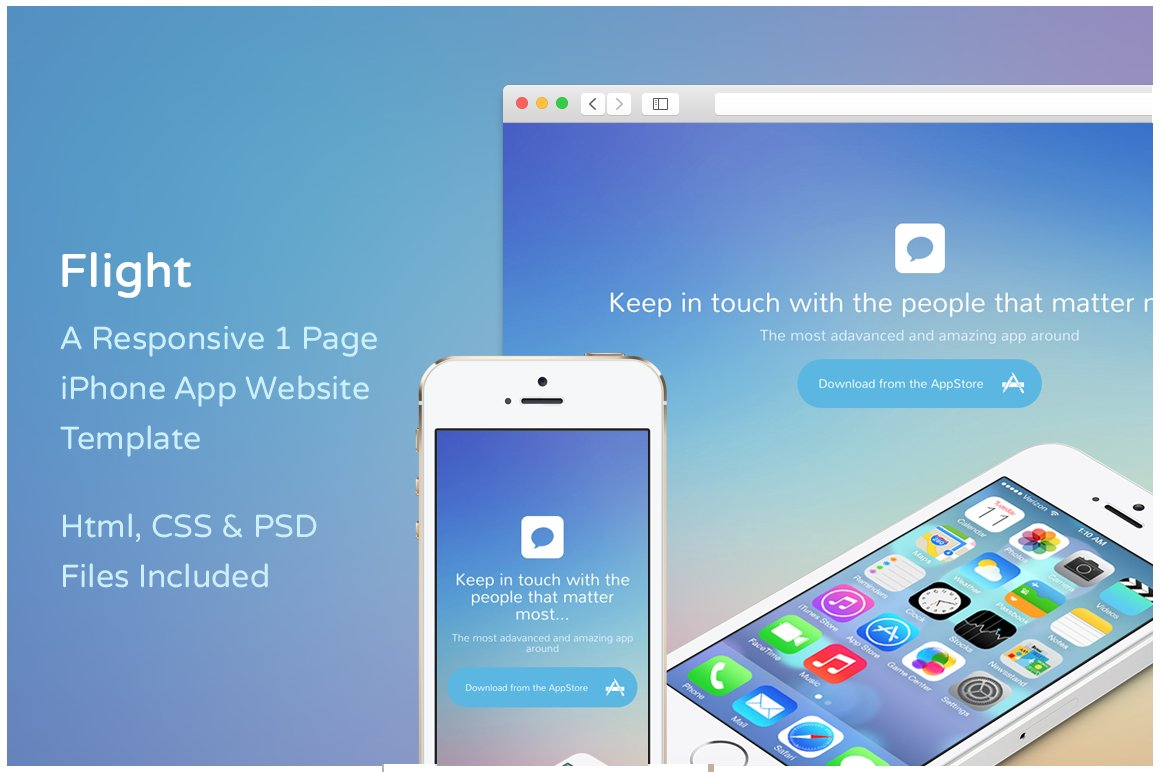 Flight iphone app website template website templates creative market maxwellsz