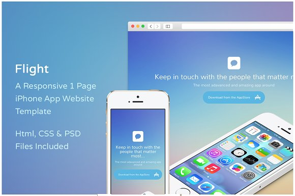 Flight Iphone App Website Template Website Templates Creative Market