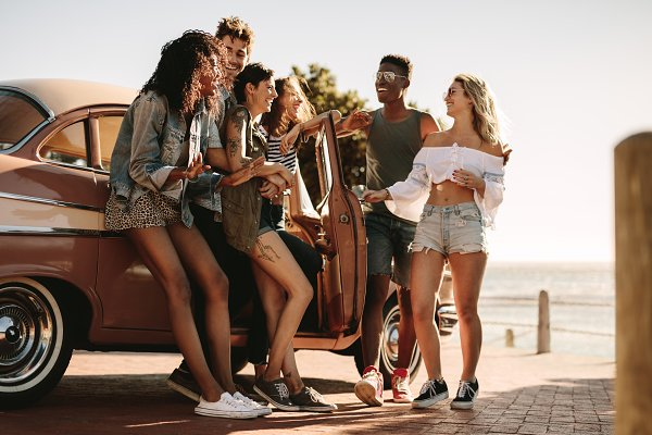 Stock Photos: Jacob Lund Photography - Friends having fun outdoors on road