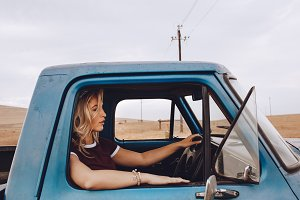 Woman driving a truck