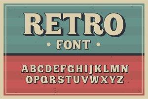 Vector vintage typeface. Retro font