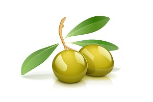 Two green olive with leaf