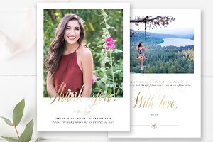 Graduation Thank You Card PSD