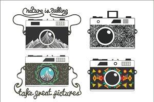 Vintage set with cameras