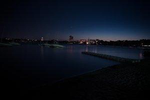 City lake at night