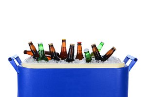 Ice Chest Full of Beer Bottles