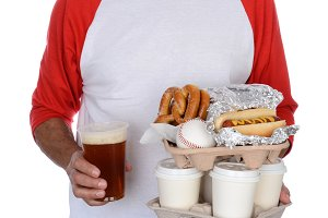 Baseball Fan Carrying Food and Souve