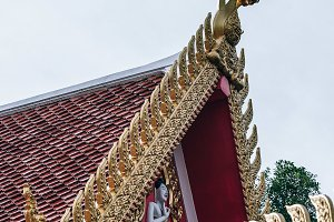 Artistic Golden Gable of Thai Temple