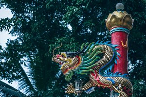 Dragon Statue at a Buddhist Temple
