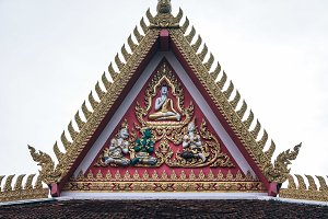 Thai Temple Roof with Golden Gable