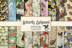 Butterfly Ephemera Digital Paper