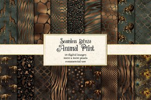 Bronze Animal Print Digital Paper