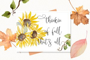 Fall Sunflower, Leaves, & vines Set