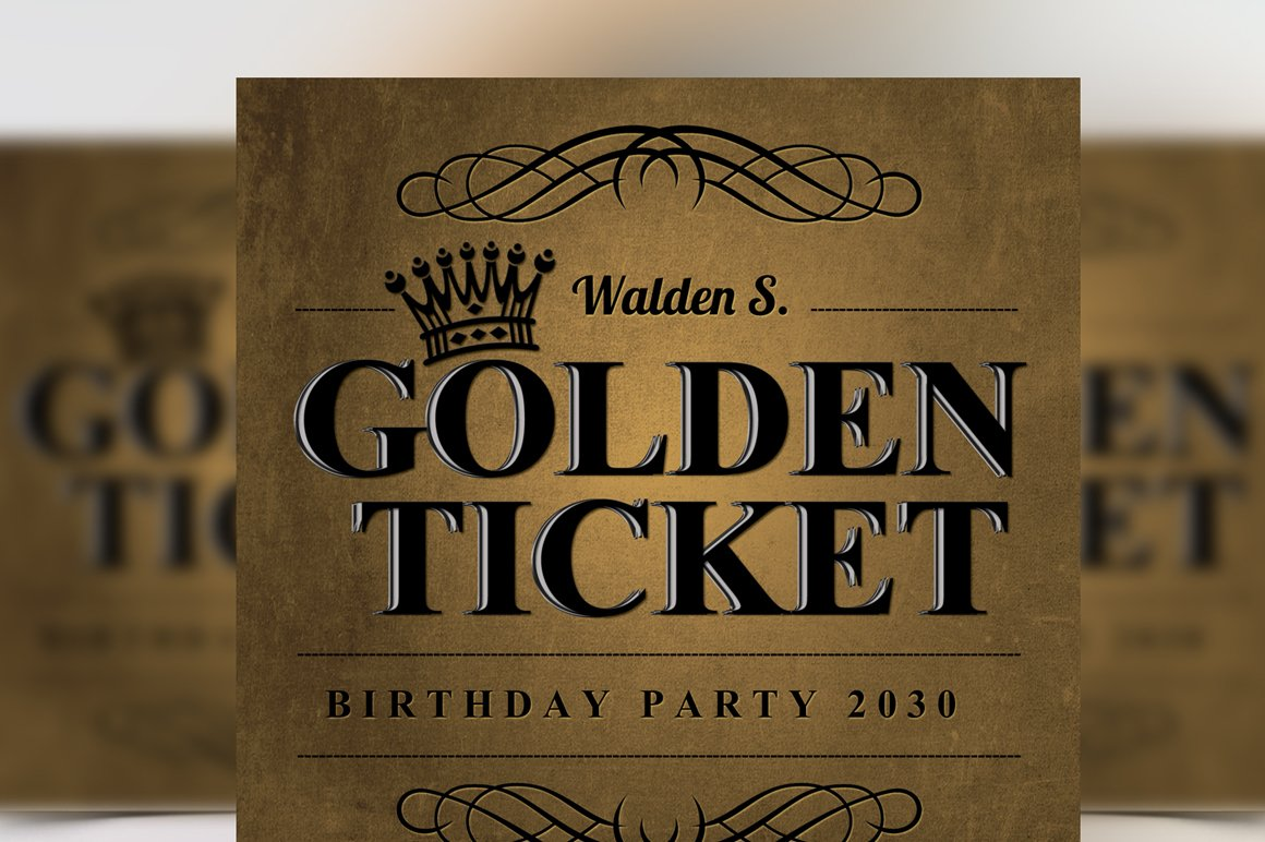 Golden Ticket Birthday Invitation ~ Flyer Templates ~ Creative Market