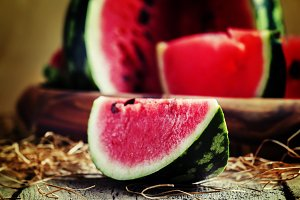 Slices of watermelon on the tray on