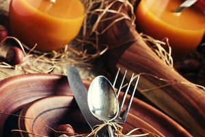 Rustic table setting for Thanksgivin