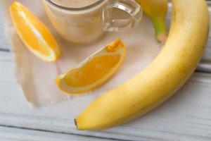 fresh summer milkshake or orange and