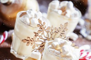 Sweet dessert with white chocolate,