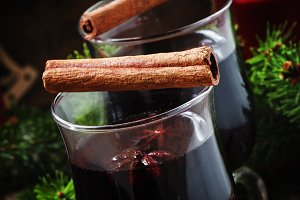 Mulled wine in large glasses for hot