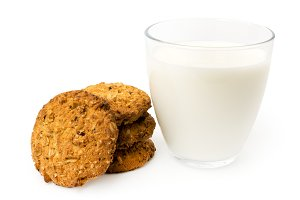 Oatmeal cookies and a glass of milk