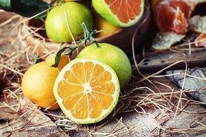 Cut green tangerines with orange pul