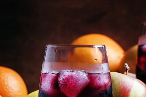 Cold fruit sangria, selective focus