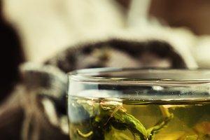 Green Ceylon tea in the cup, old woo