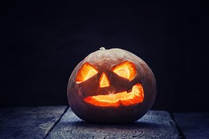Halloween pumpkin Jack-o-Lantern on