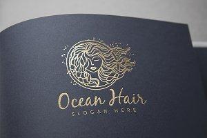 Ocean Hair Logo Template