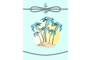 Palms and Rope with Anchor Vector
