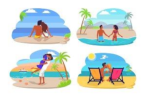 Couple Seaside Collection Vector