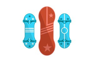 Colorful Skate Boards Set, Isolated