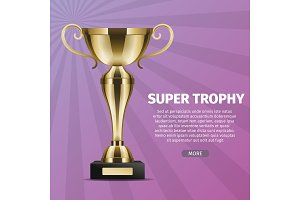 Super Trophy Vector Web Banner with