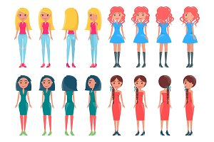 Set Animated Young Girl Casual and