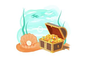 Sea and Treasures Poster, Vector