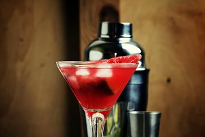 Alcoholic cocktail with watermelon,