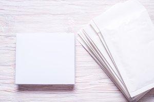 White carton box, top view, copy spa