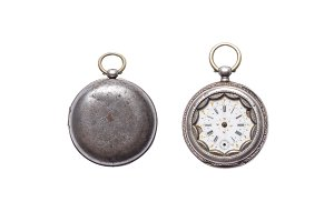 Antique broken silver pocket watch