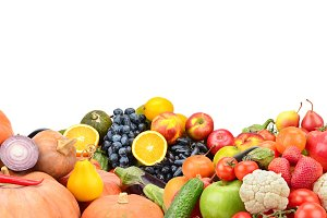 Panorama of fruits, vegetables and b