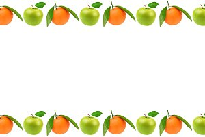 Panoramic frame of fresh fruit with