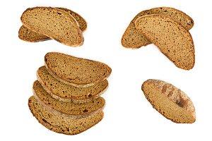 Set fresh natural dark grain bread i