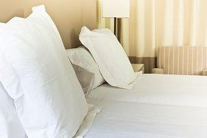 Prepared fresh bed, scene in hotel r