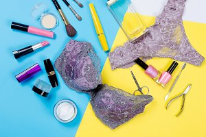 feminine lingerie and cosmetics