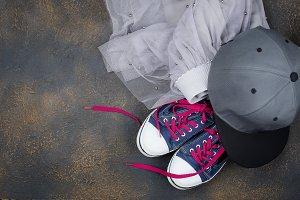 Sports shoes, chiffon skirt and base