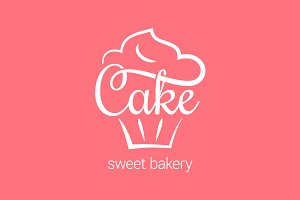 Cake logo of bakery. Cupcake dessert