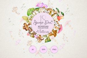 Watercolor mushrooms - Spore Den