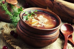 Traditional Russian soup from sauerk