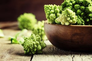 Green romanesco cauliflower in a woo