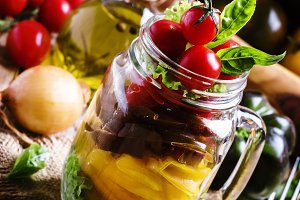 Vegetarian salad of yellow, black an